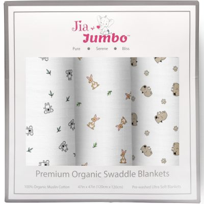 Animal Safari Organic Muslin Swaddle Box Gift Set