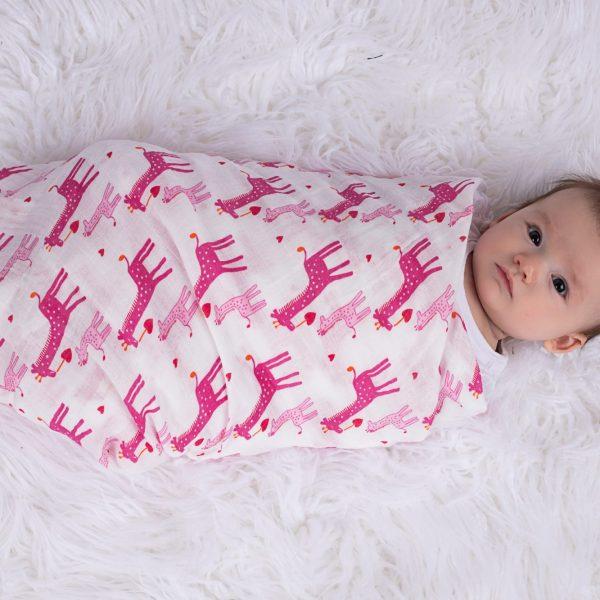 Pink Giraffe Baby Wrapped
