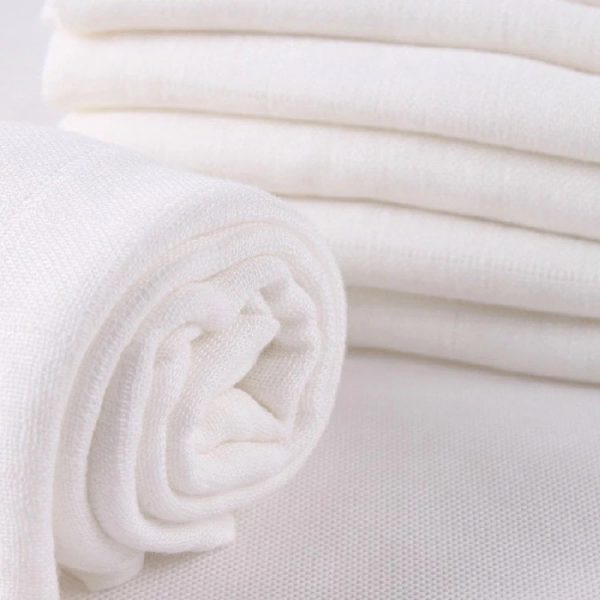 Muslin Swaddle Blanket Plain White Flat