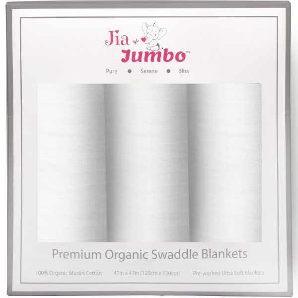 Pure White Organic Muslin Cotton Swaddle Blanket Set Gift Box