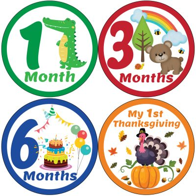 Baby Monthly Milestone Stickers Pack of 16 Jungle Party