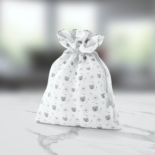 Bear Organic Muslin Cotton Crib Sheet Bag Marble
