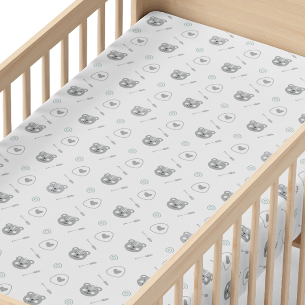 Brave Bear Organic Muslin Crib Sheet in Wood Crib