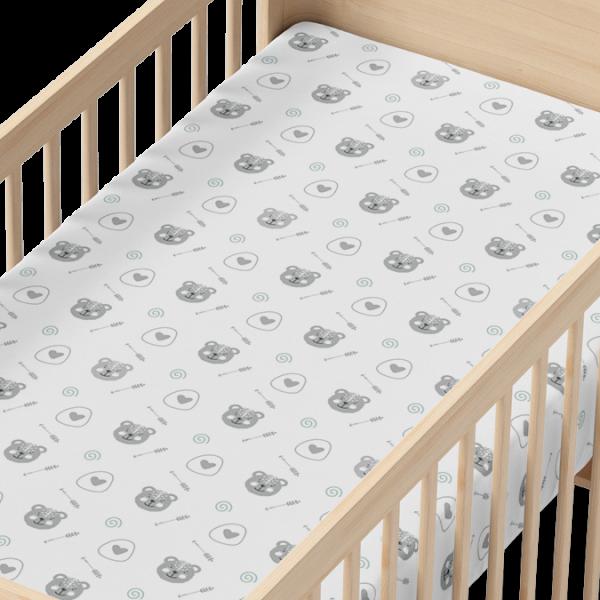 Brave Bear Organic Muslin Crib Sheet in Wood Crib