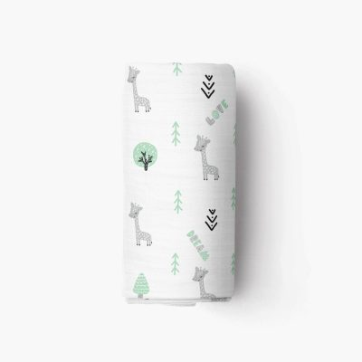 Giraffe Muslin Crib Sheet Pack and Play Roll