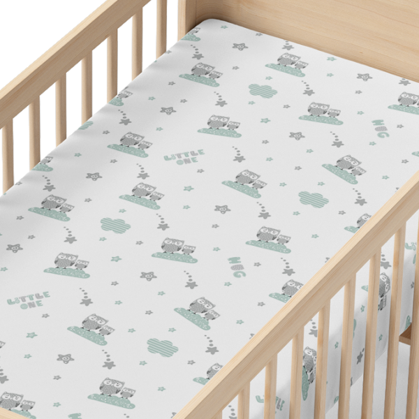 Star Baby Owl Organic Muslin Crib Sheet in Wood Crib