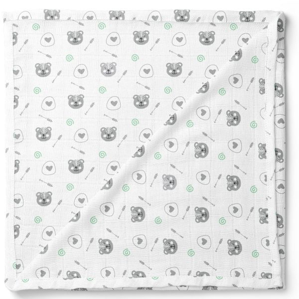 Green Forest-Organic-Muslin-Cotton-Swaddle-Blanket-Bear-Square