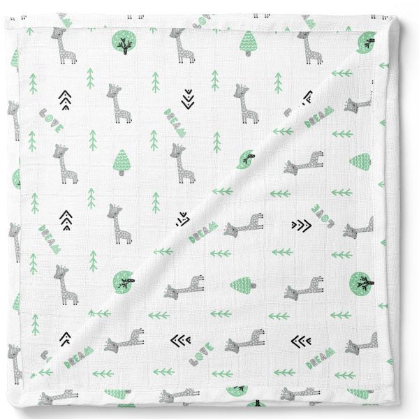 Green Forest-Organic-Muslin-Cotton-Swaddle-Blanket-Giraffe-Square
