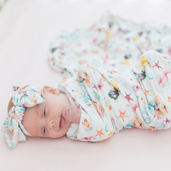 Magical Mermaids Starfish Seahorse Swaddle with top knot headband
