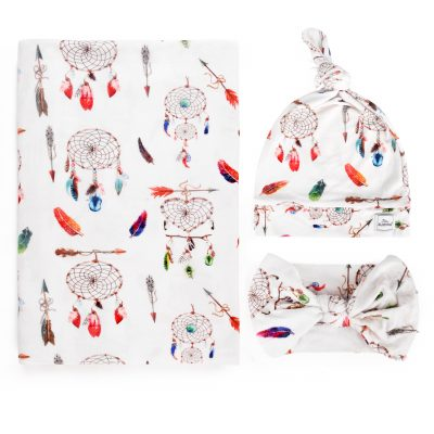 Dream Catcher Bamboo Swaddle Blanket With Beanie and Headband